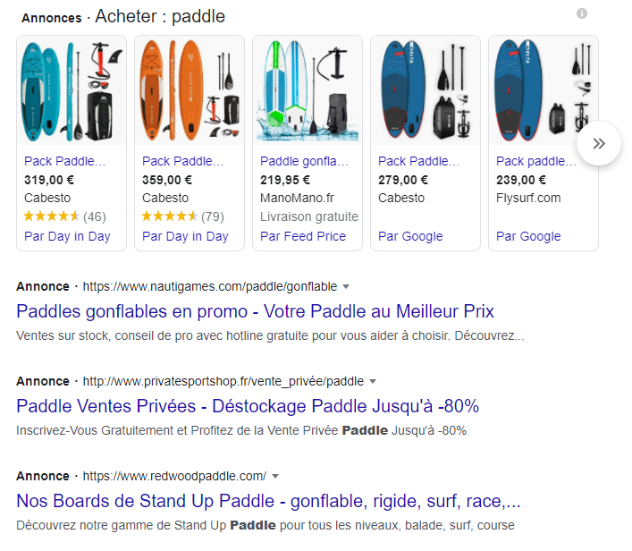 Annonce sponsorisées sur le mot-cle paddle.