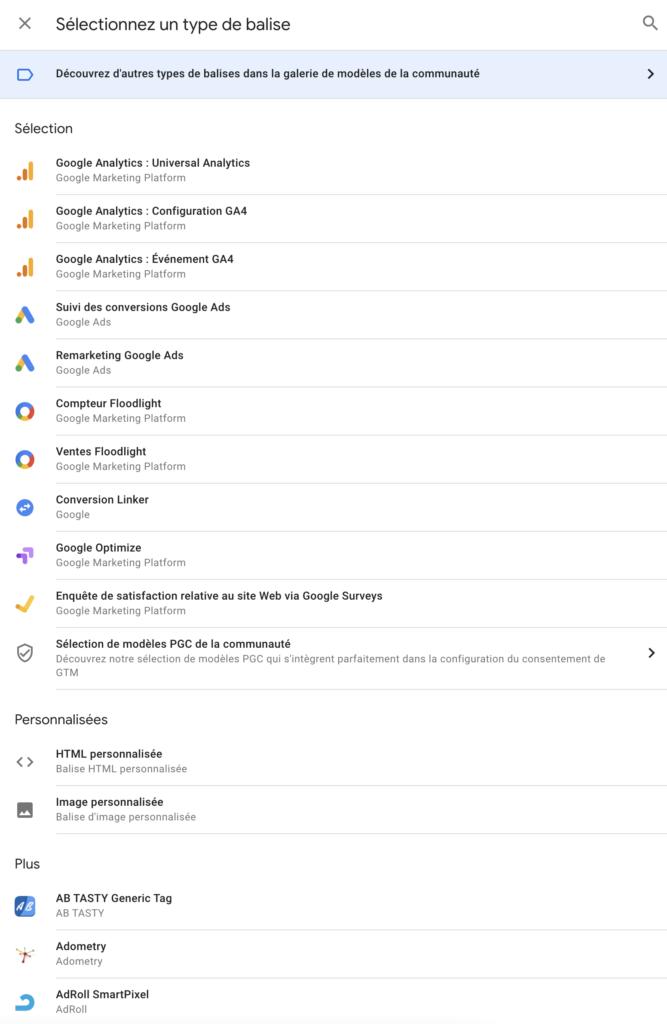 Les différentes balises de Google Tag Manager