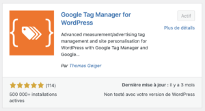 L'extension Google Tag Manager for WordPress