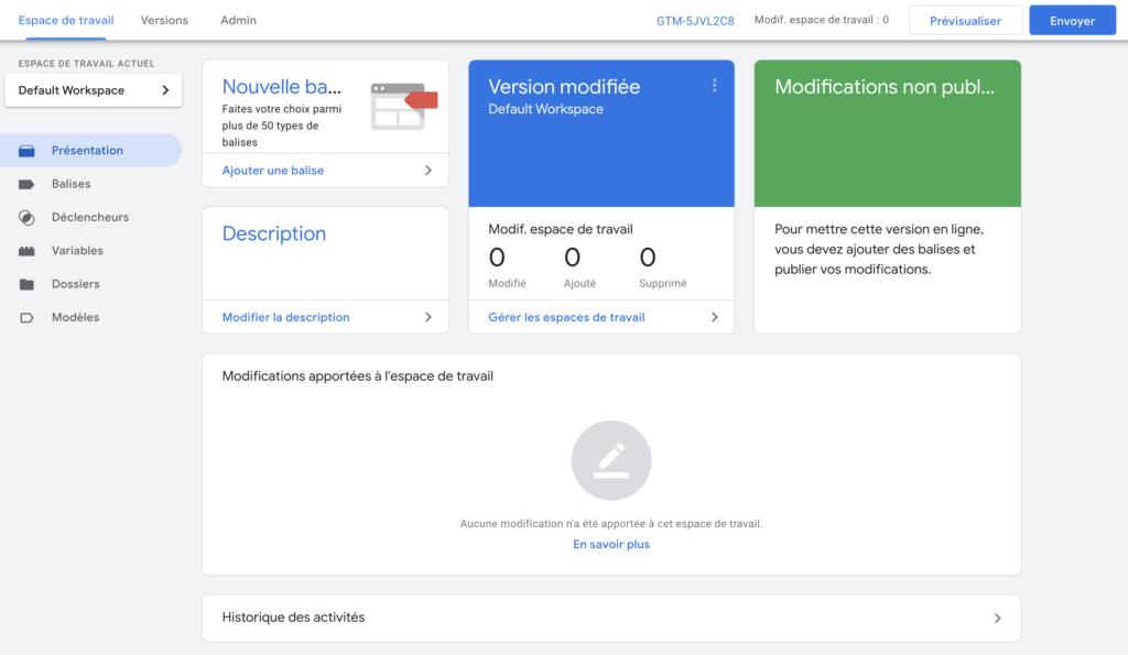 Un conteneur sur Google Tag Manager
